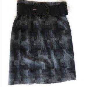 Antonio Melani Plaid Below Knee Peplum Skirt